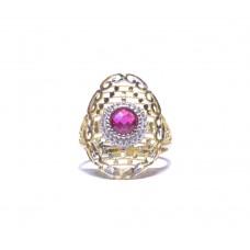 Zlatý prsten s červeným kamenem AU0188 - kombinované zlato