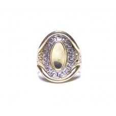 Zlatý masivní prsten bez kamenů s motivem AU0957 - kombinované zlato