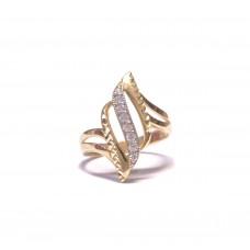 Zlatý dámský prsten s čirými zirkony AU0809 - žluté zlato