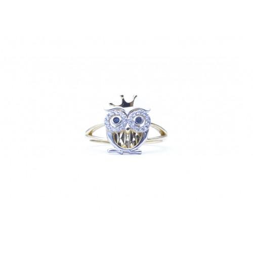 Zlatý dámský prsten sova se zirkony AU1059 - kombinované zlato