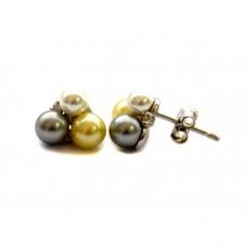 Stříbrné náušnice pecky osázené perlami AG0183