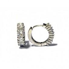 Stříbrné  náušnice zlamovací kroužky se zirkony AG0039