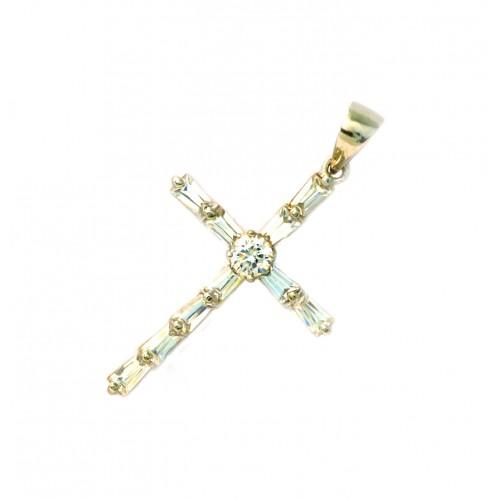 Stříbrný přívěsek křížek se zirkony AG0086