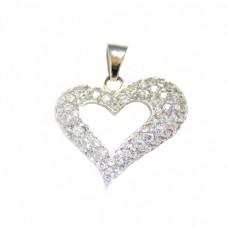 Stříbrný přívěsek srdce se zirkony AG0067