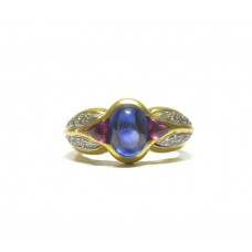 Luxusní zlatý prsten osazený safírem, rubíny a diamanty AUBAZAR0069 - žluté zlato (velký certifikát ČGL)