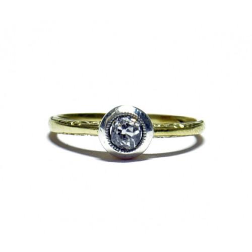 Luxusní zlatý zásnubní prsten s diamantem AUBAZAR0046 - Art deco