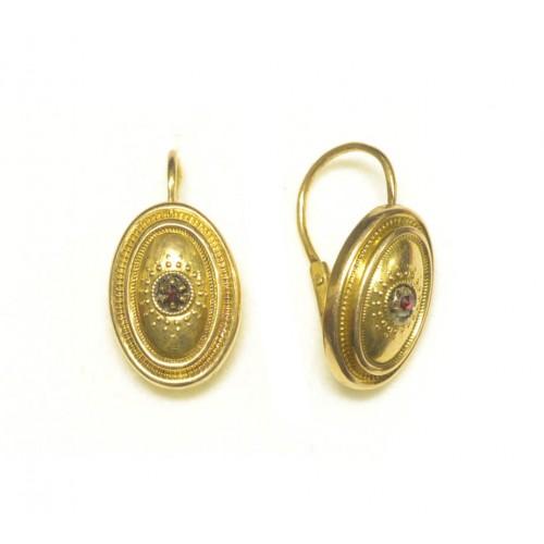 Zlaté naušnice biedermeier s českými granáty AUBAZAR0001