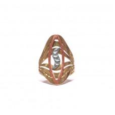 Zlatý dámský masivní prsten trojí zlato AUBAZAR0172 - ruční práce