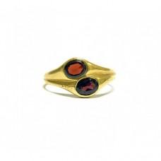 Zlatý dámský prsten se dvěma granáty - Art deco AUBAZAR0021