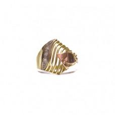 Zlatý prsten se zirkony - ruční práce AUBAZAR0099 - trojí zlato