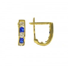 Zlaté dětské - dívčí náušnice se zirkony AU0509 modré