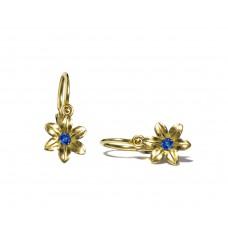 Zlaté dětské náušnice kytičky ve žlutém zlatě se zirkonem AU0261