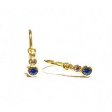 Zlaté dětské náušnice se třemi zirkony AU0785 - modré