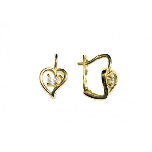 Zlaté dámské - dívčí náušnice srdce se zirkonem AU0104