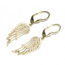 Zlaté náušnice andělská křídla se zirkony AU0993 - visací