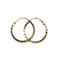 Zlaté náušnice kroužky střední AU0642 - ryté
