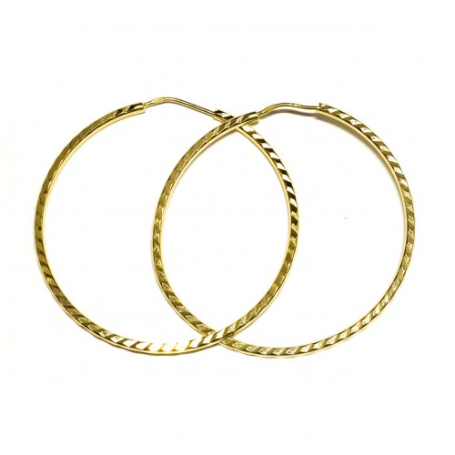 Zlaté náušnice kruhy AU0629 - ryté