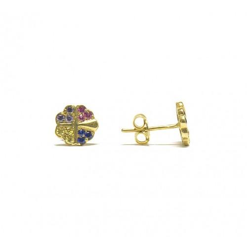 Zlaté náušnice pecky se zirkony AU0641 - multicolor