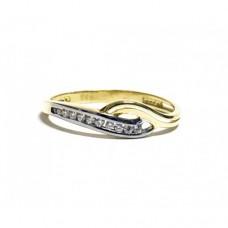 Zlatý prsten osázený zirkony AU0764 - kombinované zlato