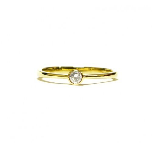 Zlatý prsten s diamantem AU0199 - žluté zlato