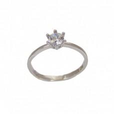 Zlatý zásnubní prsten se zirkonem - bílé zlato AU0204