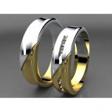 Zlaté snubní prsteny AUSP0029 - kombinované zlato