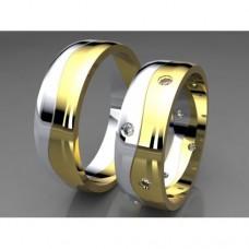 Zlaté snubní prsteny AUSP0038 - kombinované zlato