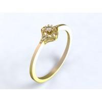 Zlatý zásnubní prsten se třemi brilianty (diamanty)  PDP0000161