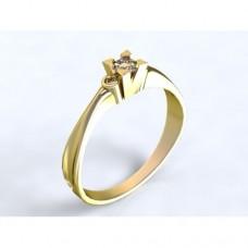 Zlatý zásnubní prsten s diamantem AUZSPD0005