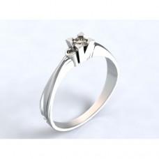 Zlatý zásnubní prsten s diamantem AUZSPD0006 - bílé zlato