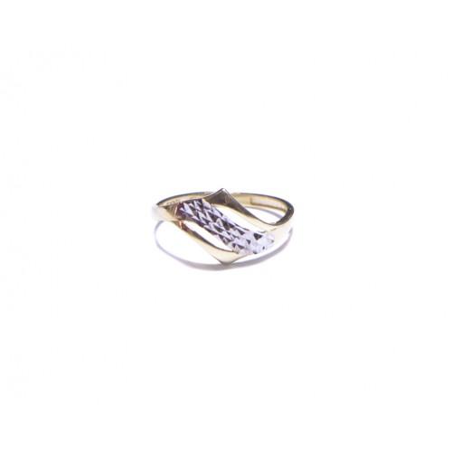 Zlatý prsten bez kamínků s rytinou AU0159 - kombinované zlato