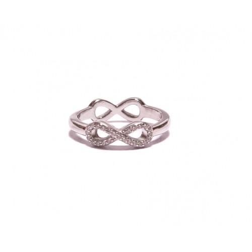 Stříbrný dámský prsten nekonečno oboustranný AG0182 se zirkony