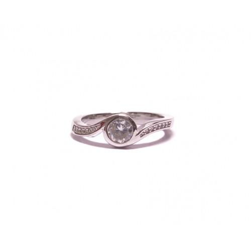 Stříbrný prsten s větším zirkonem AG0157