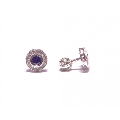 Stříbrné náušnice kulaté pecky osázené zirkonky na šroubek AG0025 - fialové