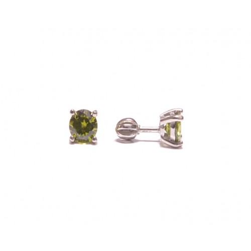 Stříbrné náušnice pecky se zeleným zirkonem střední AG0015 - na šroubek