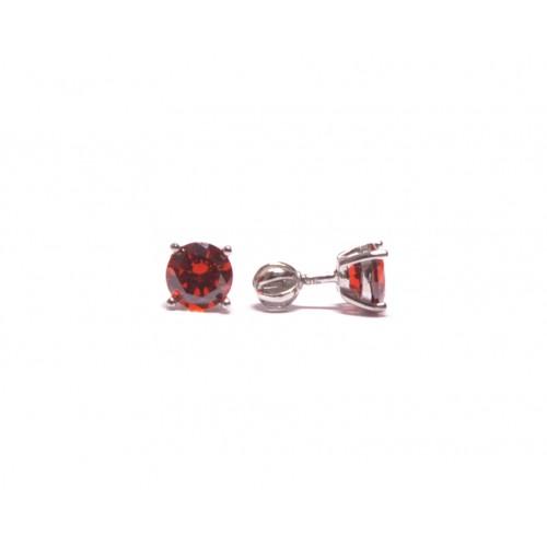 Stříbrné náušnice pecky s červeným zirkonem střední AG0013 - na šroubek