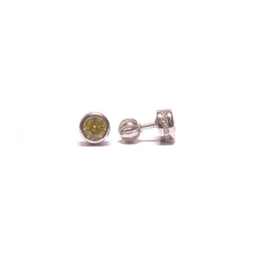 Stříbrné náušnice pecky osazené zirkonem na šroubek AG0021 - žlutý