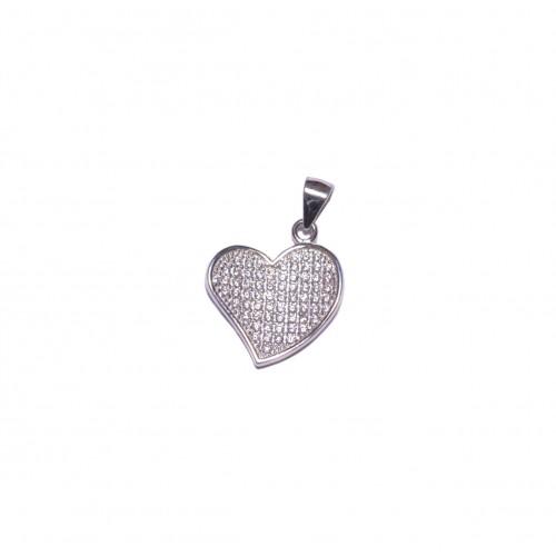 Stříbrný přívěsek srdce se zirkony AG0219